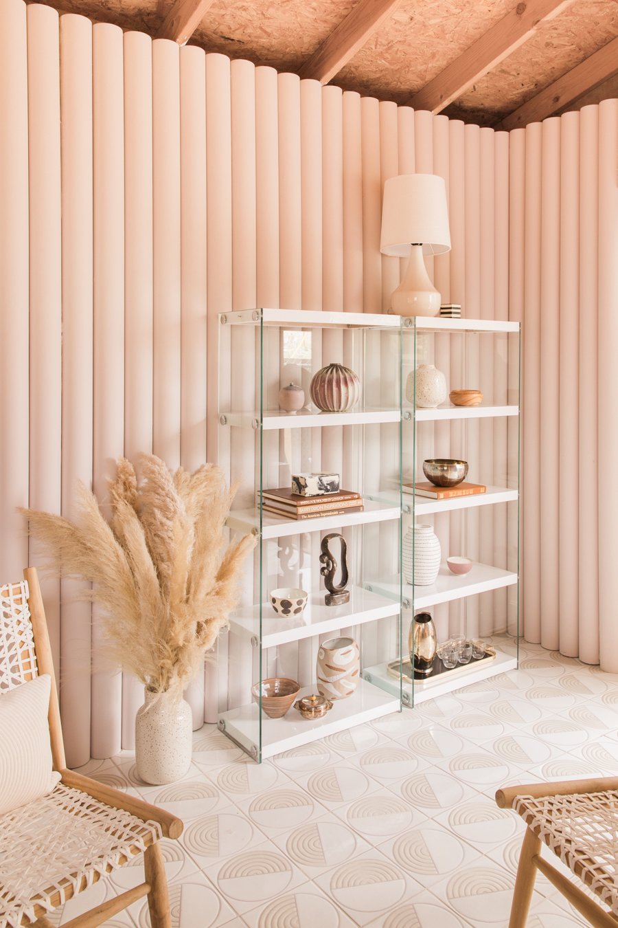 Pvc Pipes Walls 80's Style Glass Shelves - Anne Sage