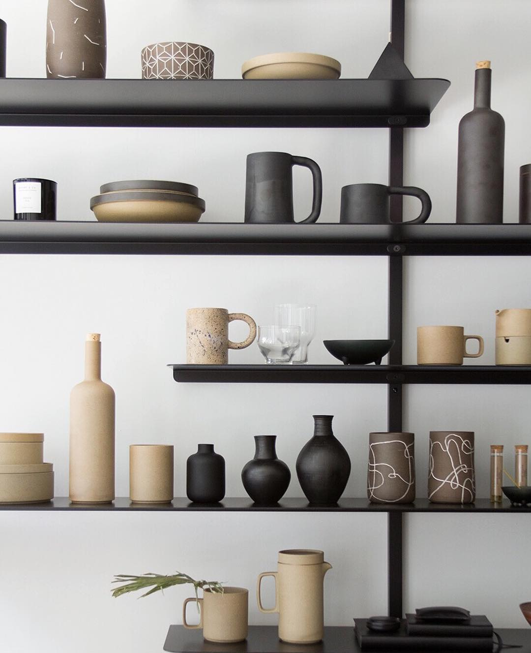 Ceramics Collection Display On Wall Mounted Shelves // Anne