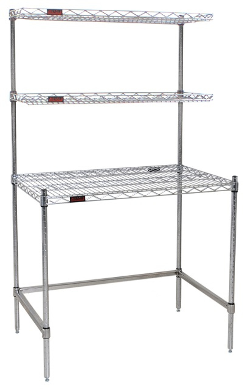"""Cleanroom Tables, Eagle Tables, Stainless Steel Wire Top, Base And Over  Shelves, 24""""w X 48"""", Ea-ws2448wt-s"""