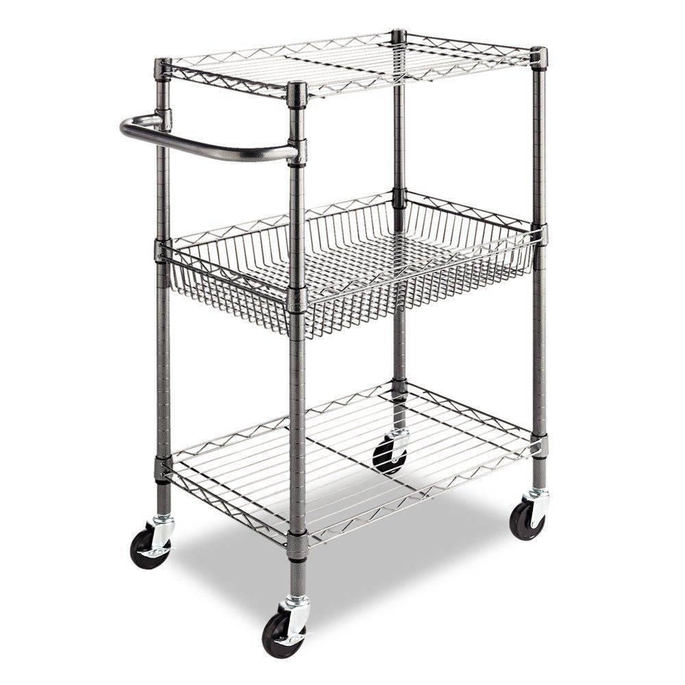 Commercial Kitchen Cart Wheels Wire Shelves Utility Rolling