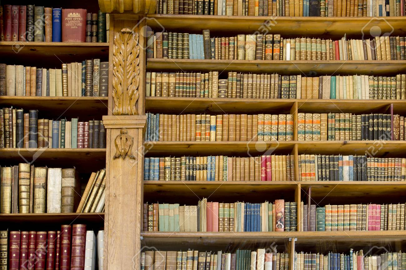 Book Shelves In An Old Library