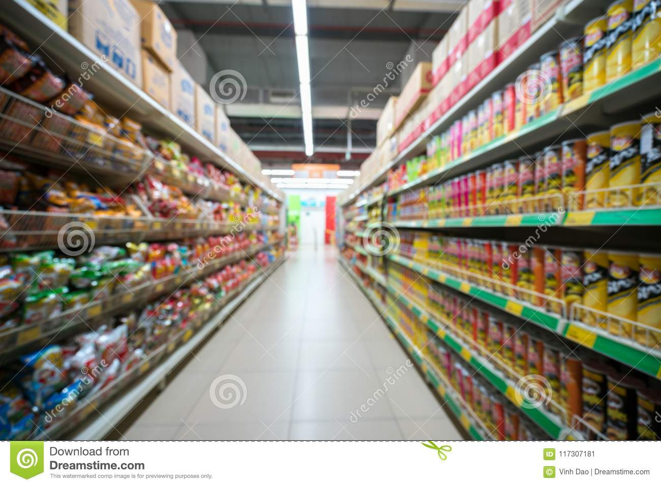 Supermarket Blurred Background With Colorful Shelves And
