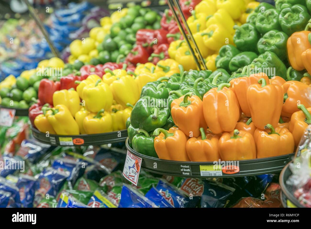 Fresh Vegetables Sit On The Shelves Of The Commissary During