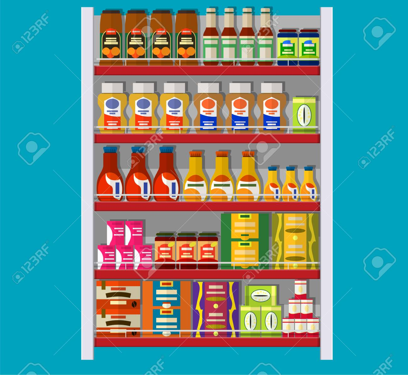 Supermarket Shelves With Groceries Goods And Products Food