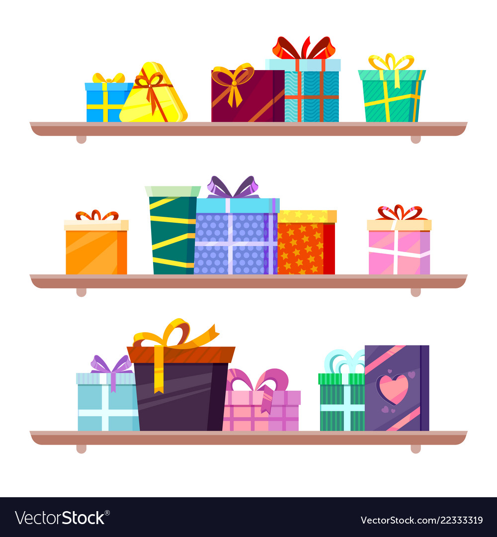 Gifts On Shelves Greeting Colored Packages Of