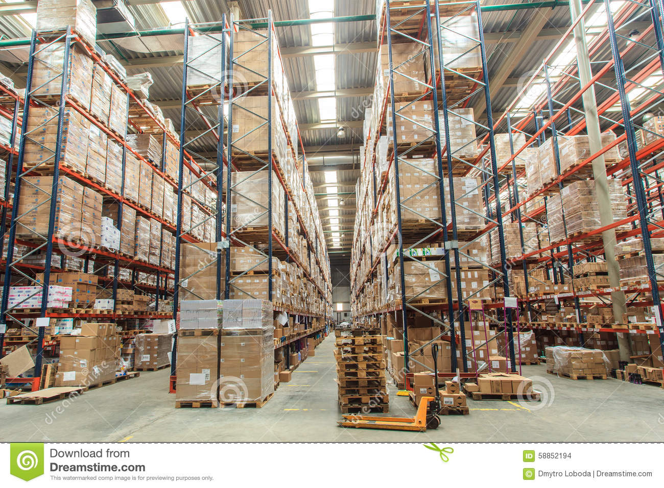 Warehouse Shelves With Goods Stock Photo - Image Of