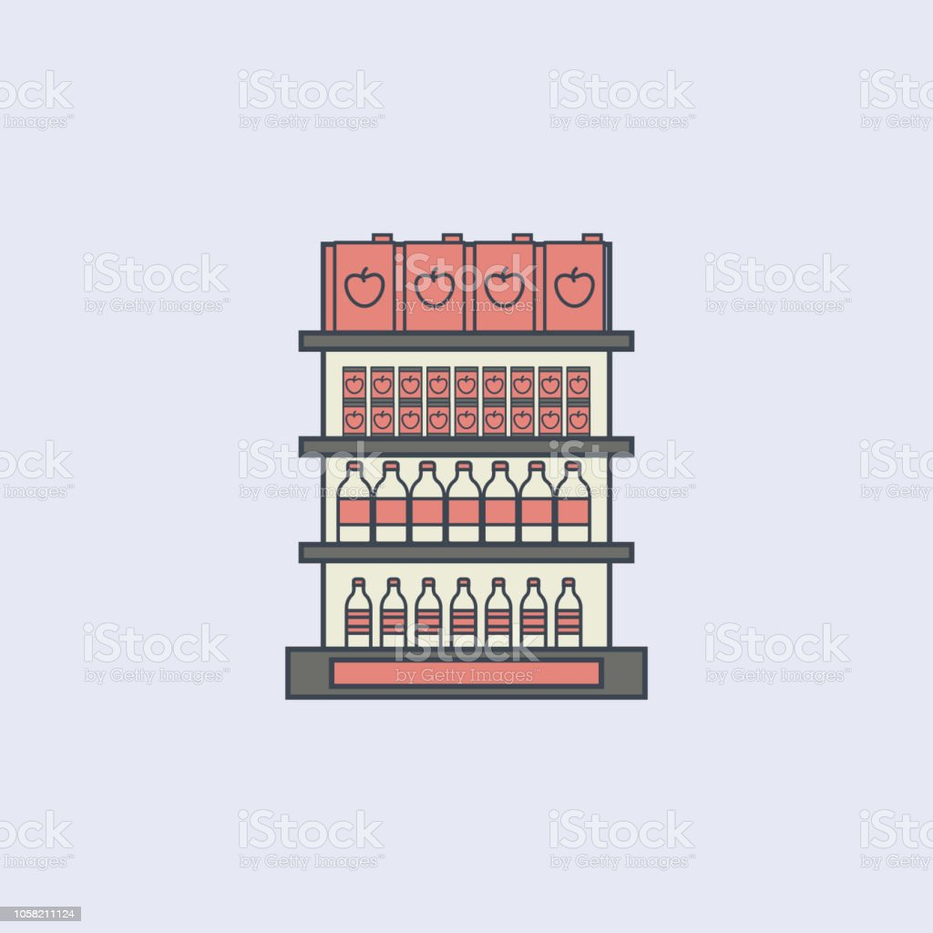 Juice Packaging On Shelves Colored Outline Icon One Of The