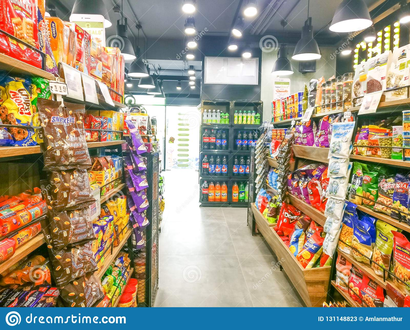 Supermarket Shelves Filled With Fmcg Grocery Products