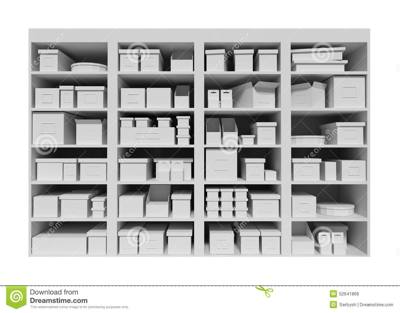 Mall Shelves With Boxes Isolated On White Background Stock