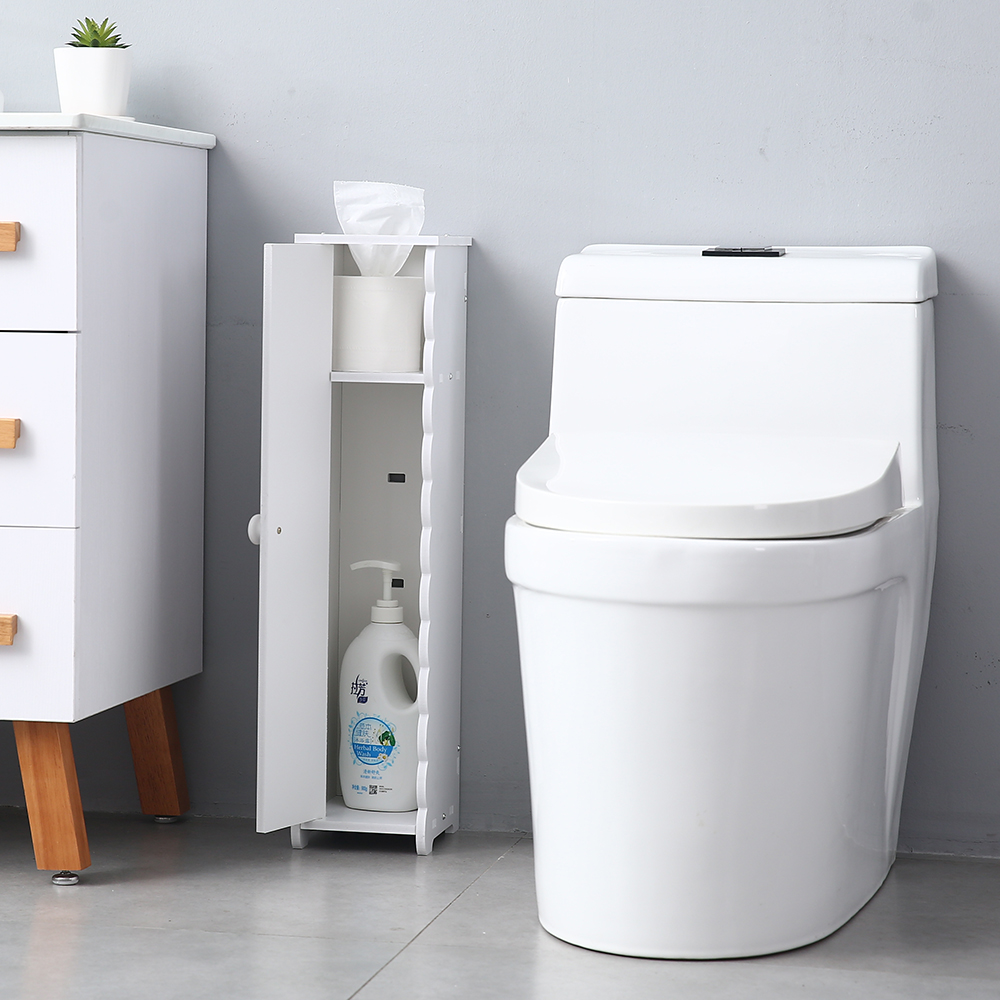 Details About Storage Narrow Cabinet Paper Tower Cupboard Shelves Bathroom  Durable Furniture