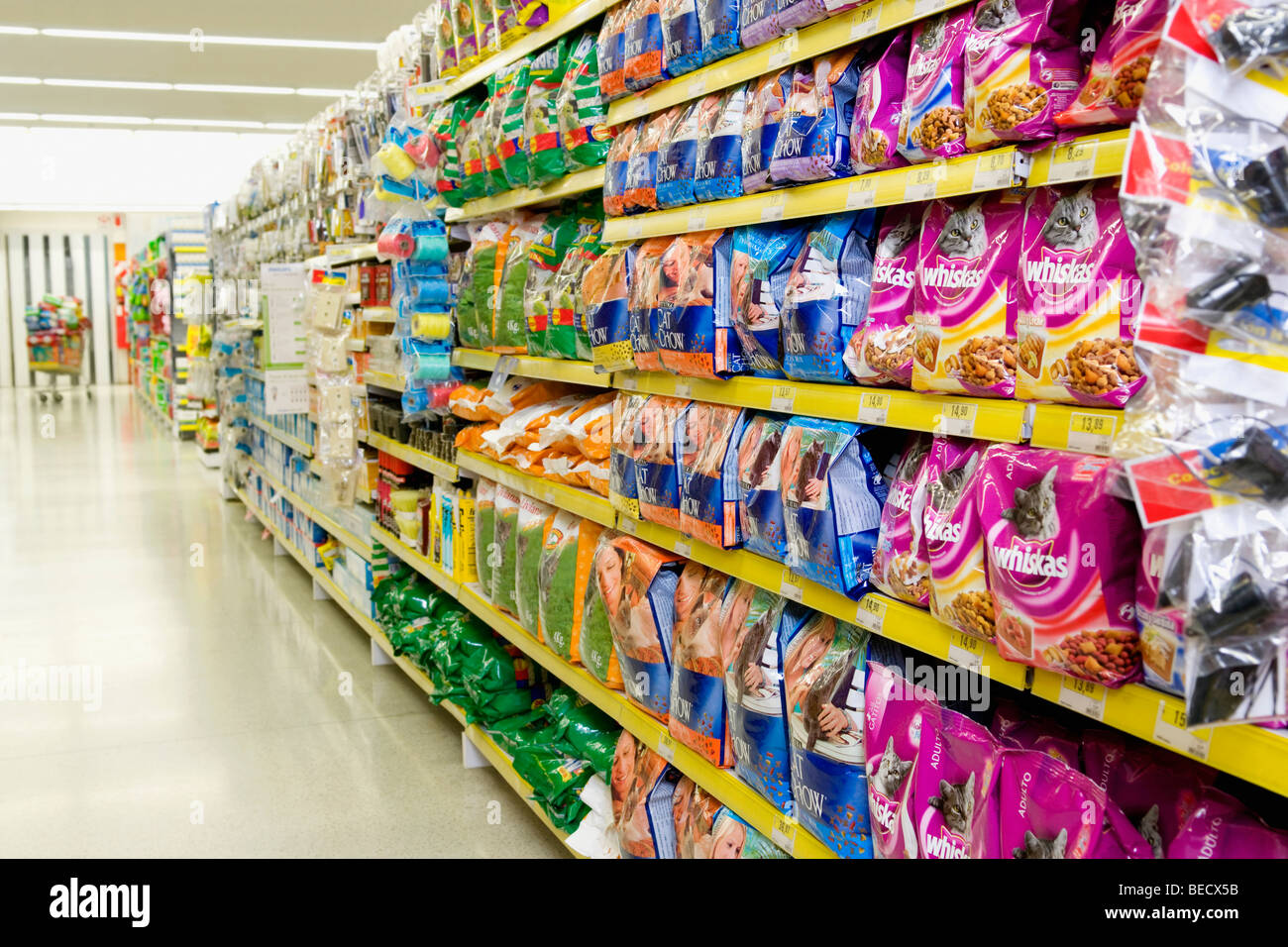 Packed Food On Shelves In A Supermarket Stock Photo