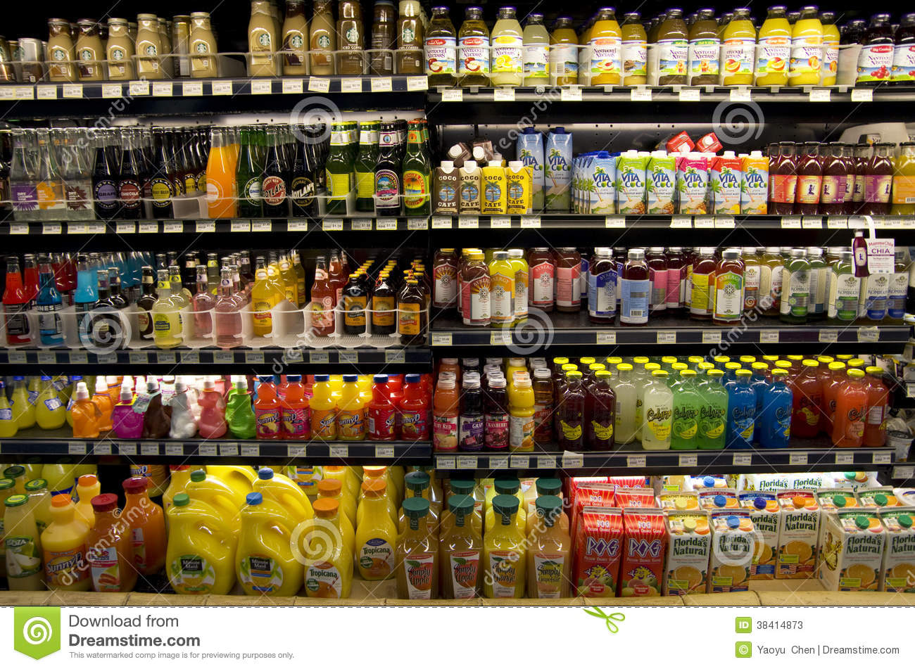 Cold Healthy Drinks On Supermarket Shelves Editorial Stock