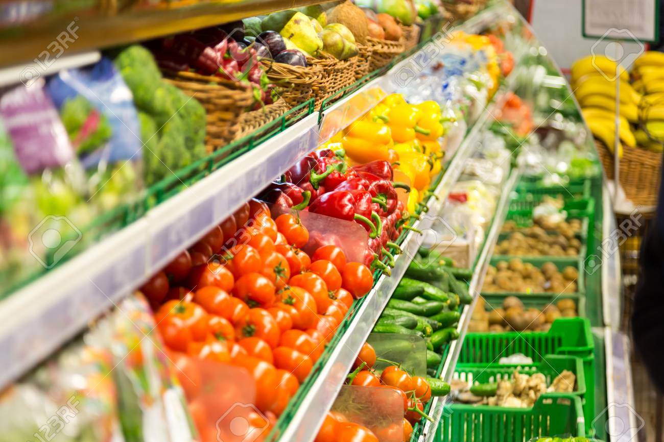 Fruits And Vegetables Are On The Shelves Of The Supermarket