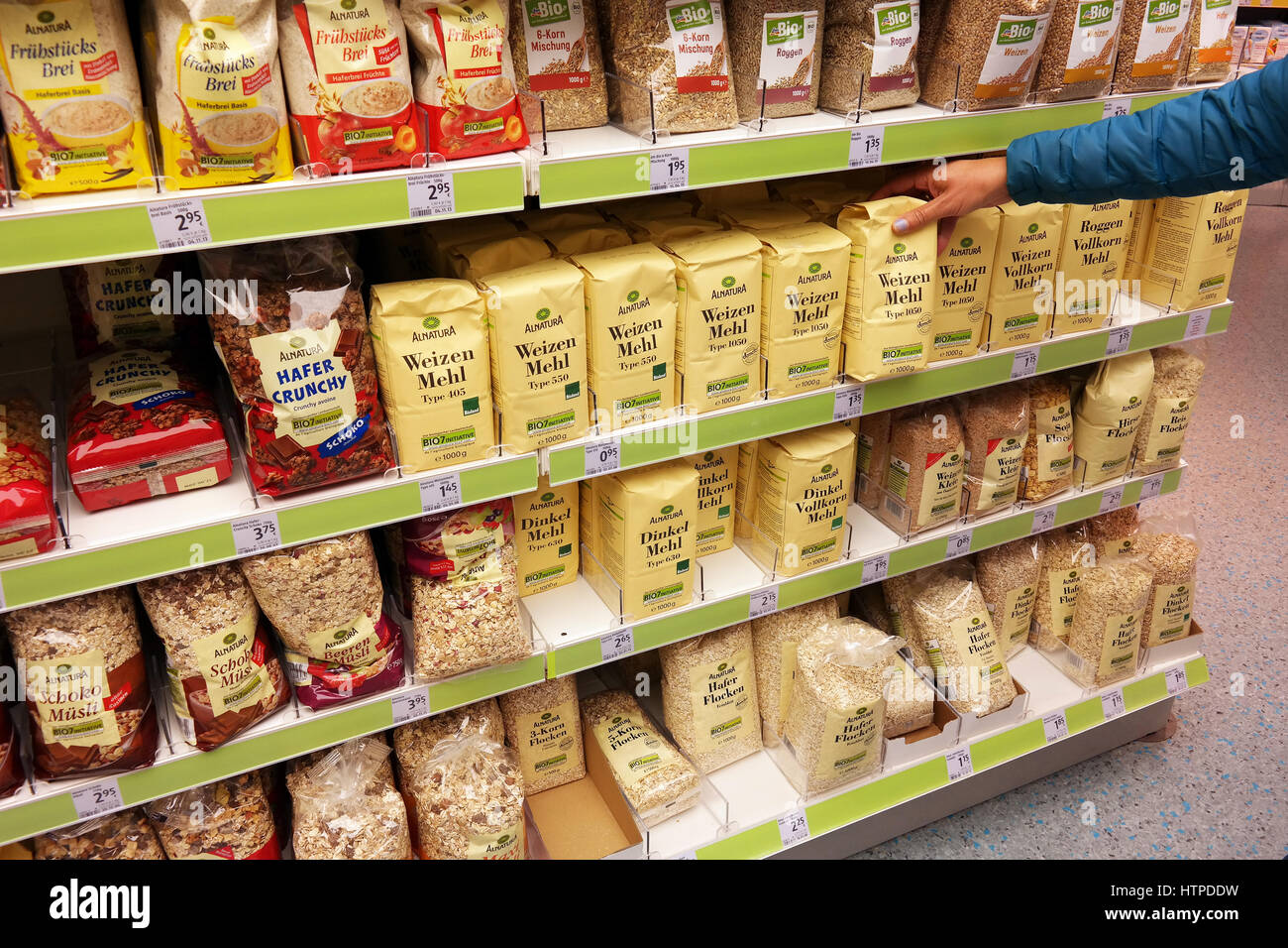 Shelves With Health Food Products Of Alnatura Brand In A Dm