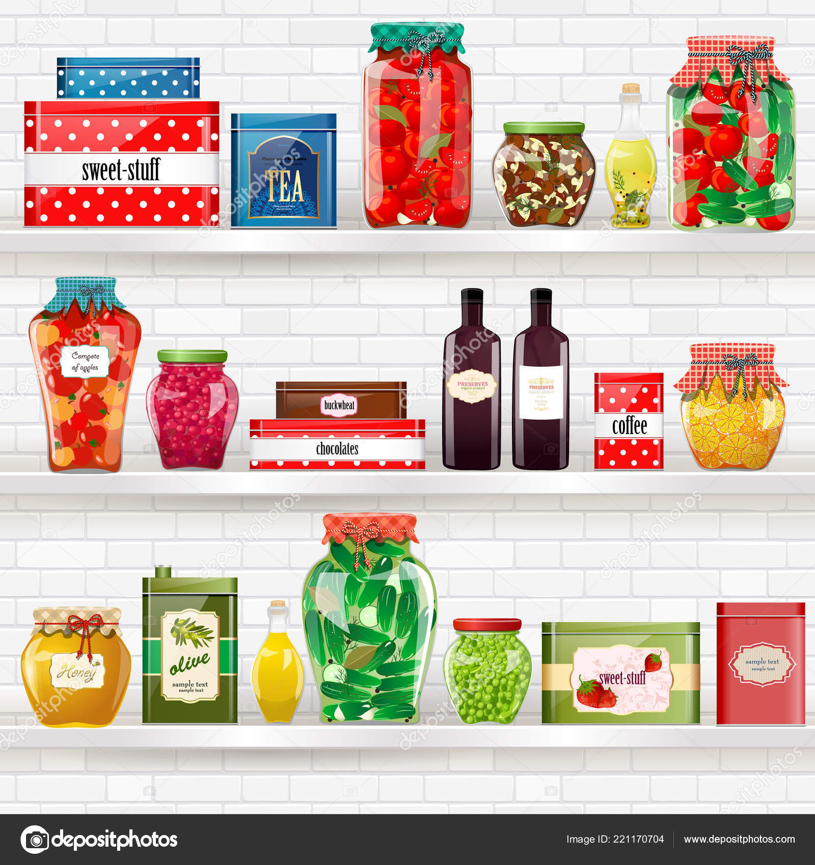 Comfort Collection Delicious Healthy Preserved Food Shelves