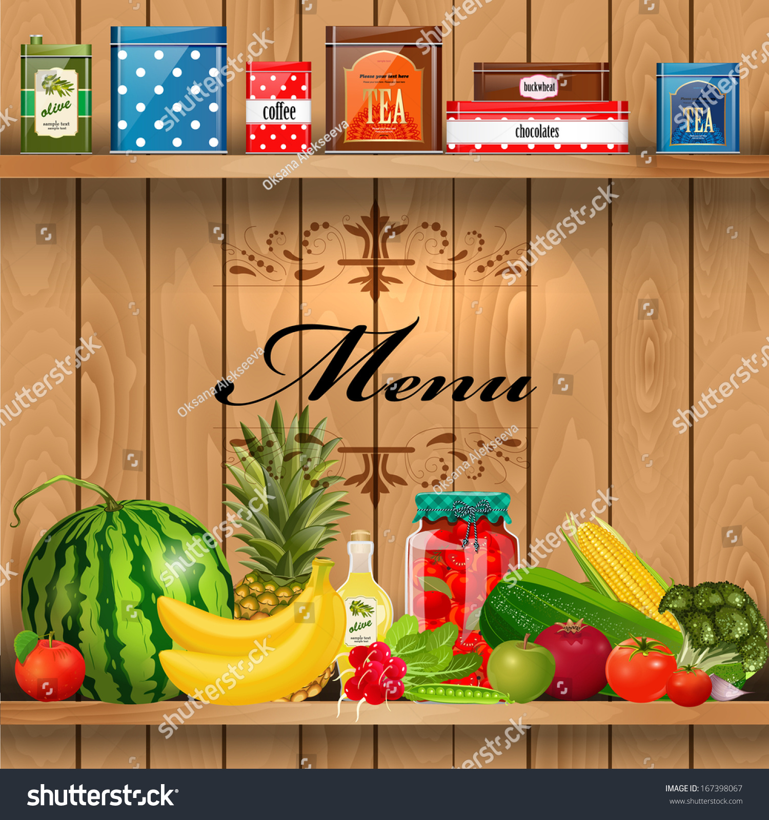 Delicious Healthy Food On Wooden Shelves Stock Vector