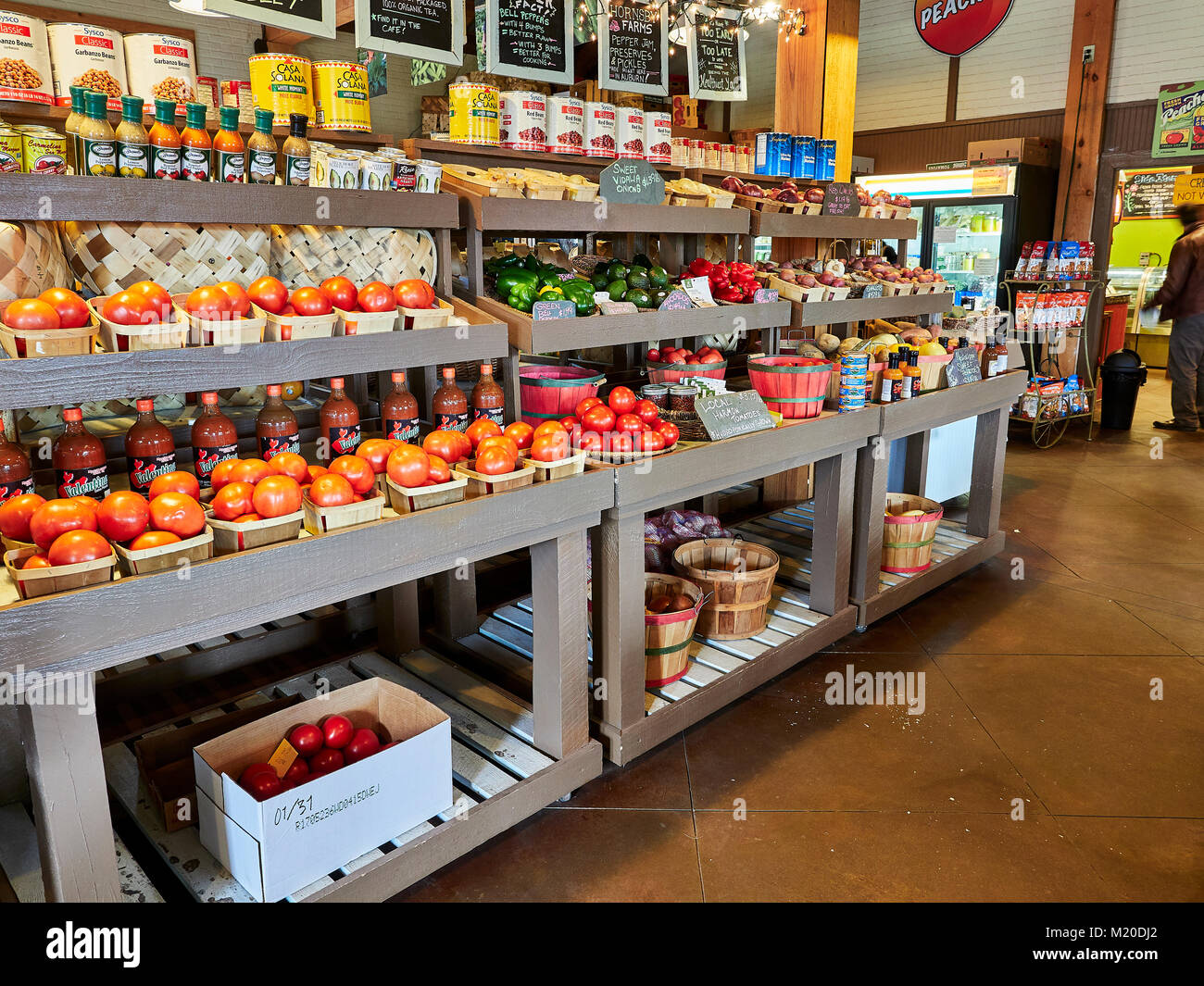 Display Shelves In Local Fresh Produce Specialty Market With