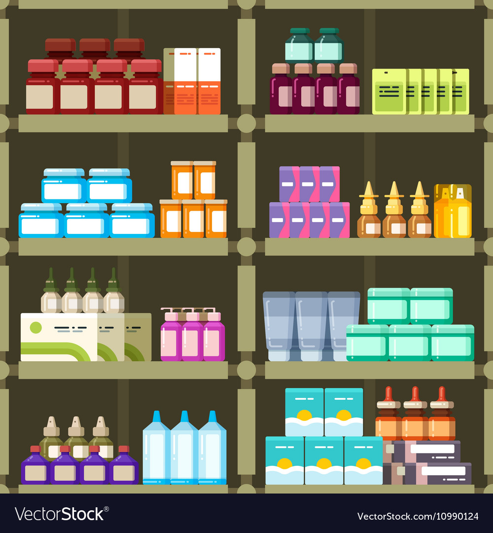 Pharmacy Shelves With Pills And Drugs Medicine
