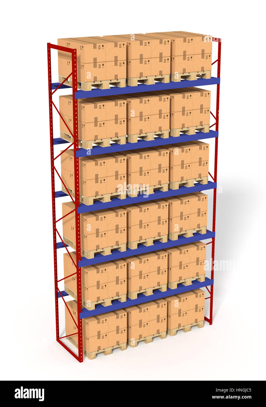 Warehouse Shelves Rack Filled With Brown Boxes Isolated On