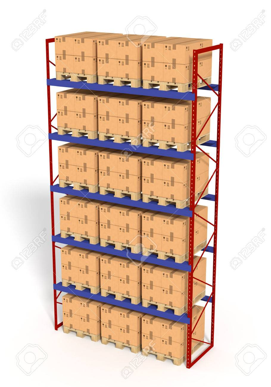 Warehouse Shelves Rack Filled With Brown Boxes Isolated On White