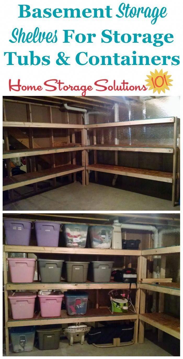 Basement Storage Shelves For Storage Tubs And Containers