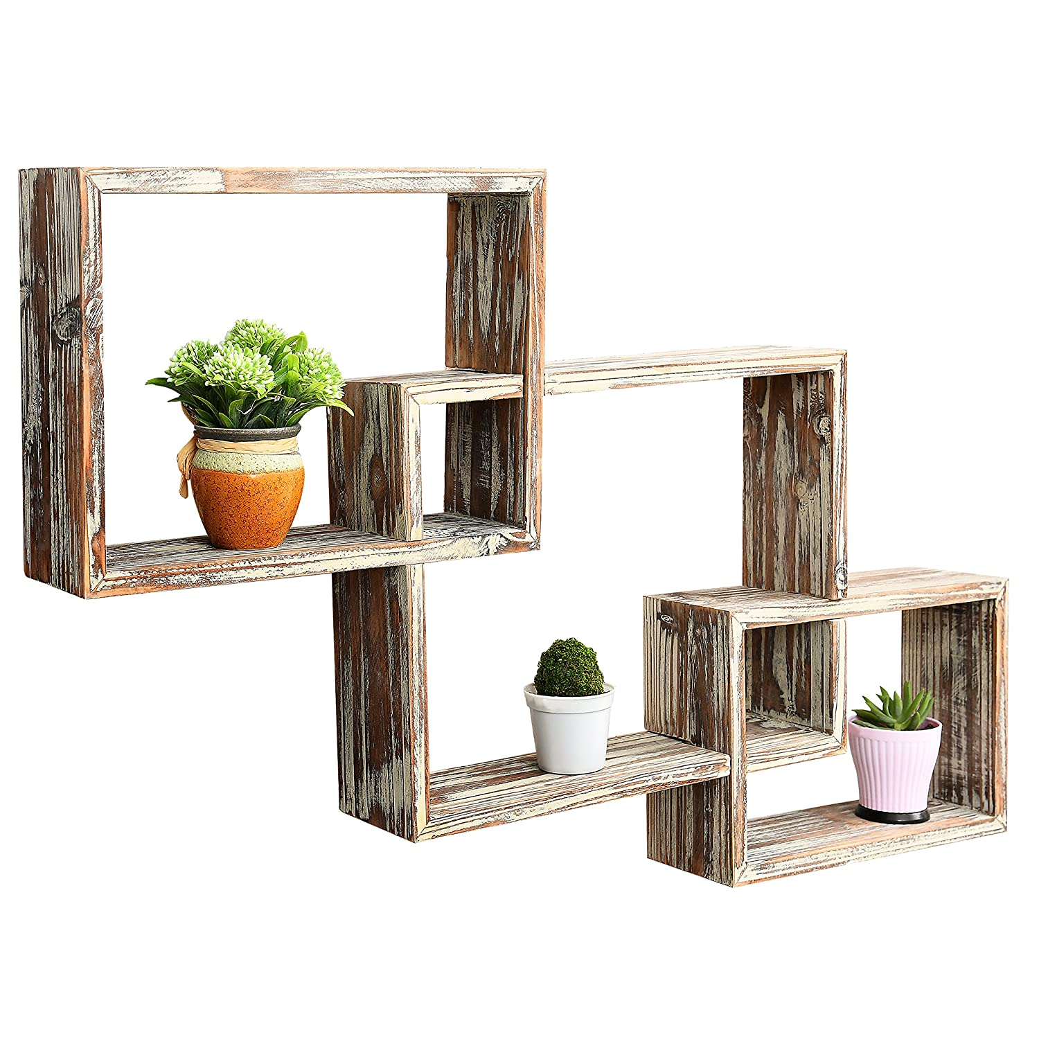Mygift Wall-mounted Country Rustic Brown Interlocking Shadow Box, Floating  Box Display Shelves, Set Of 3