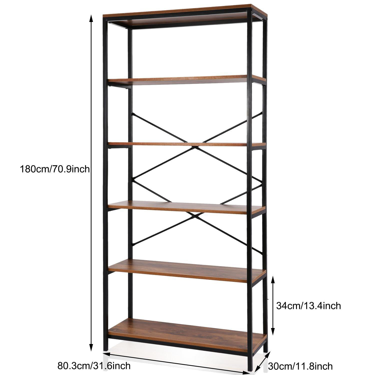 5-tier Wooden Bookcase Storage Shelves Organizer, Retro Bookshelf Plant  Display Shelf, Wood And Steel Frame Open Wide For Balcony/study Room/living