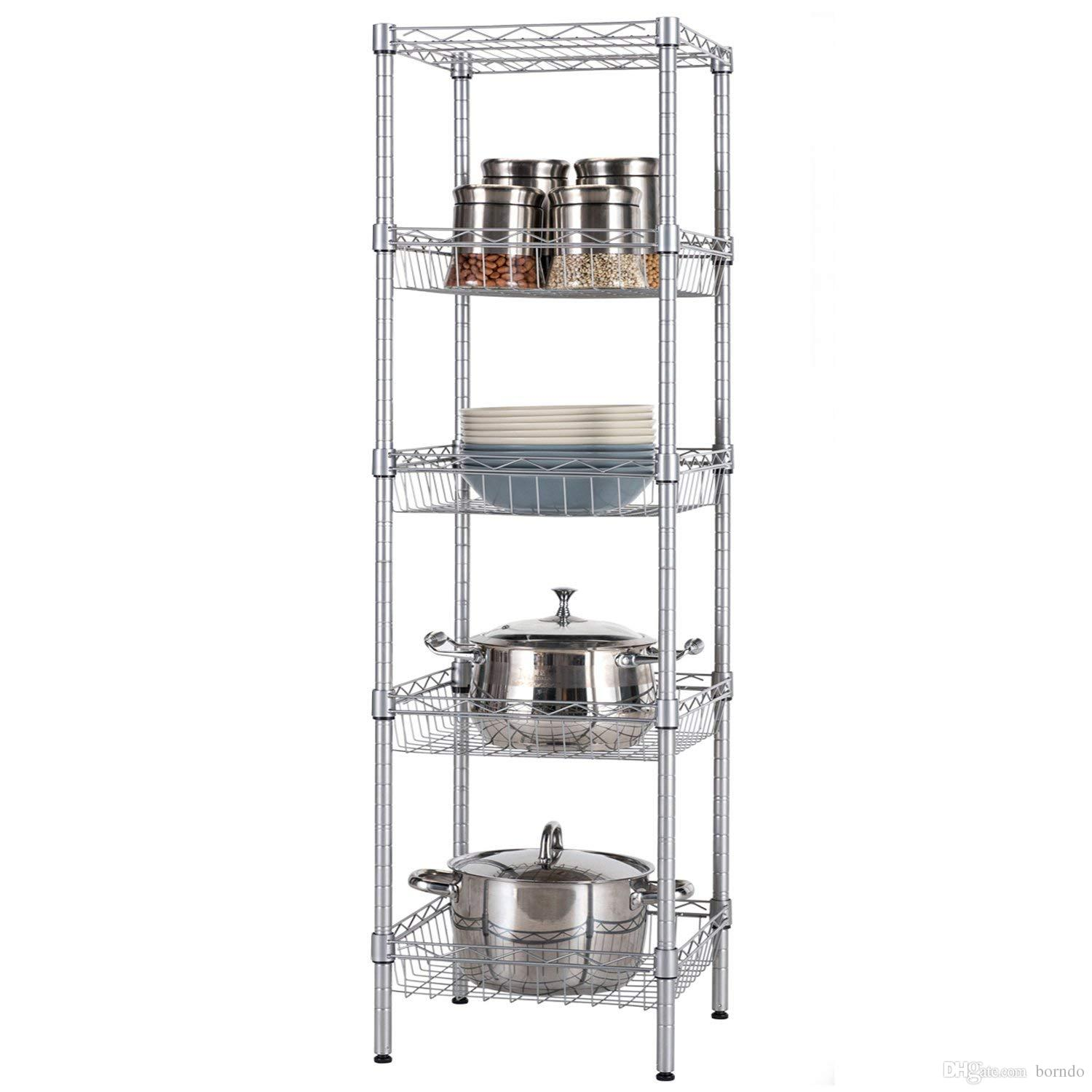 Open Kitchen Metal Rack And Shelves Units, Pots And Pans Wine Dishes  Storage Organizer ,baker S Rack, Silver Gray Steel (5 Tiers)