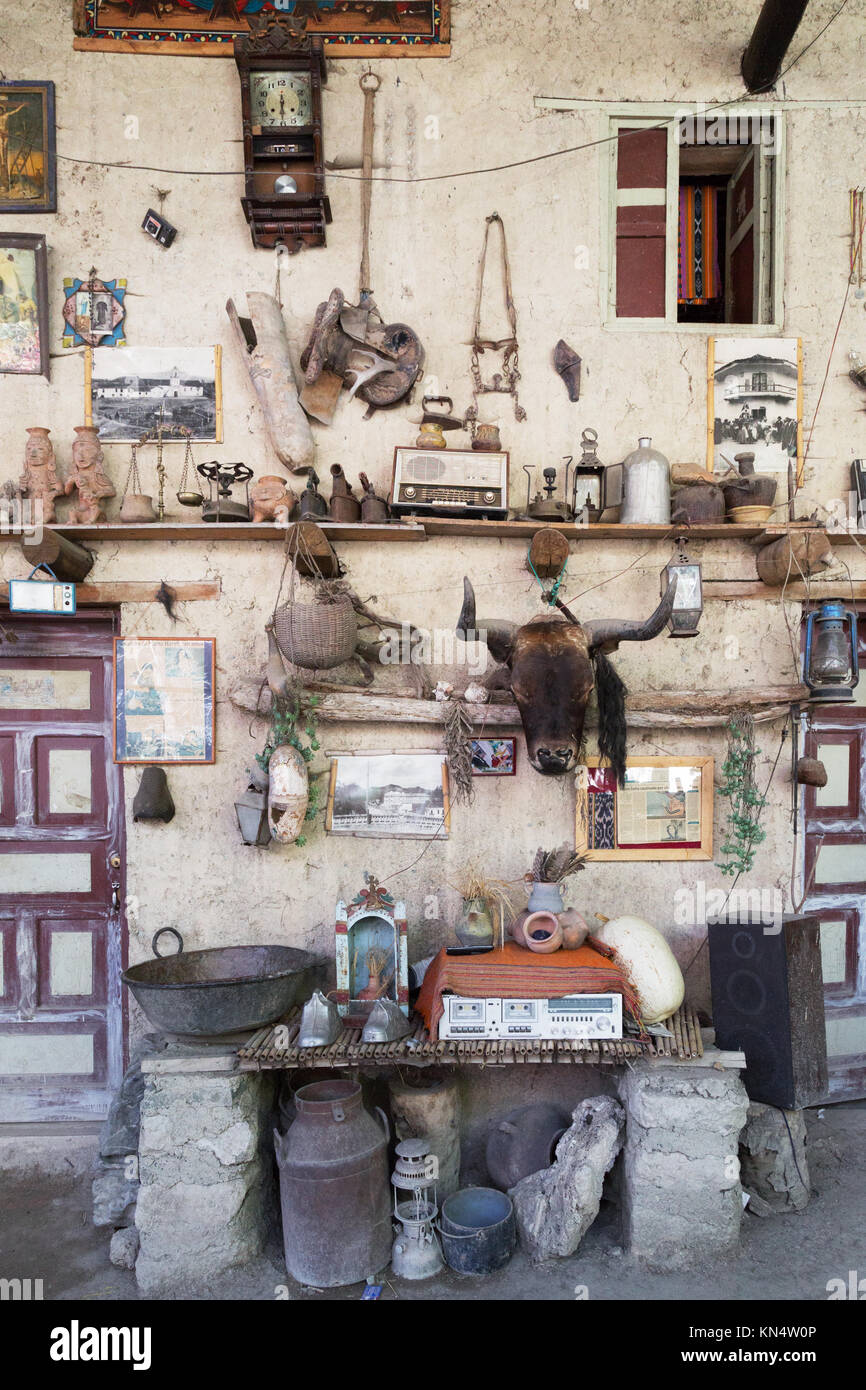Collection Of Bric A Brac On Shelves In A House, Cuenca