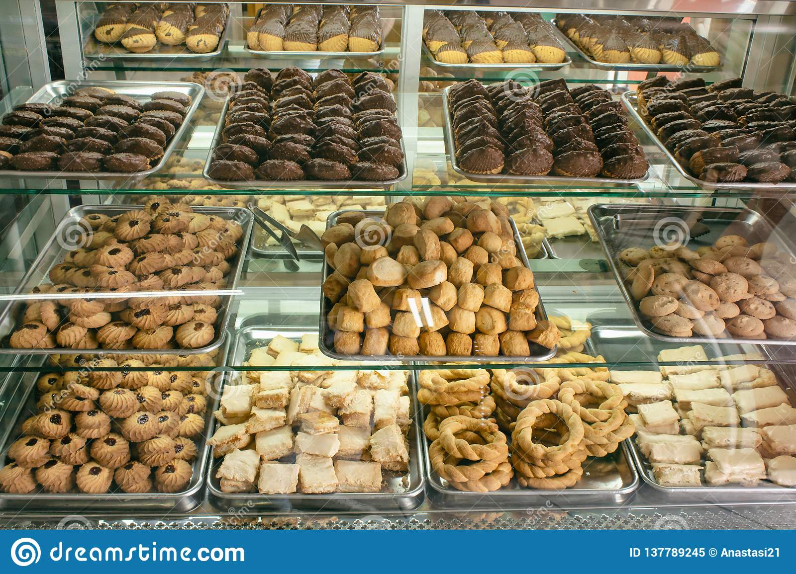 Shelves With Cookies On The Window Confectionery Quito