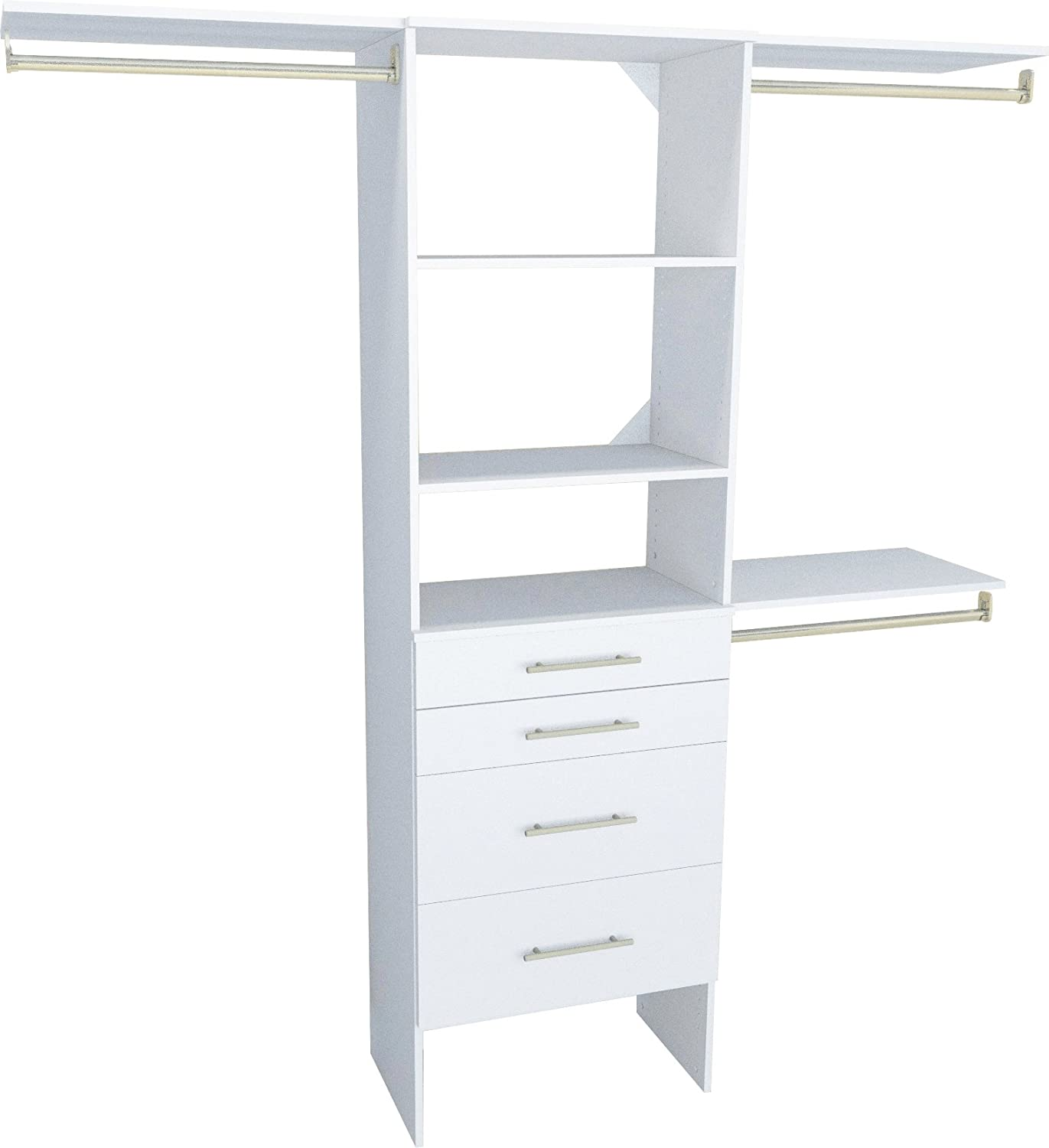 Closetmaid 1937140 Suitesymphony Modern 25-inch Closet Organizer With  Shelves And 4-drawers, Pure White