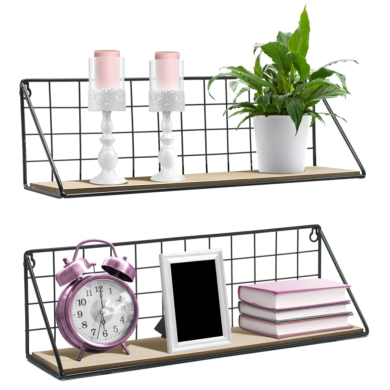 Sorbus Floating Shelves Wall Mounted Rustic Wood Storage Set For Picture  Frames, Collectibles, Decorative Items, Great For Living Room, Office,