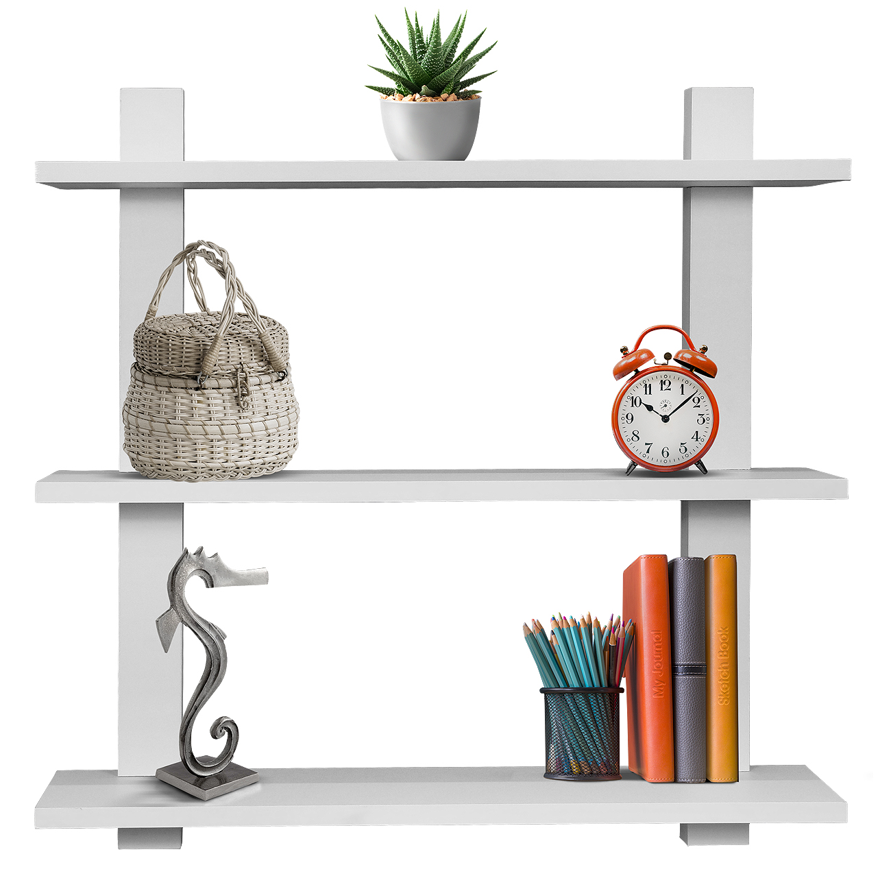 Sorbus 3 Tier Floating Shelves, For Photos, Decorative Items, And Much More  - (white)