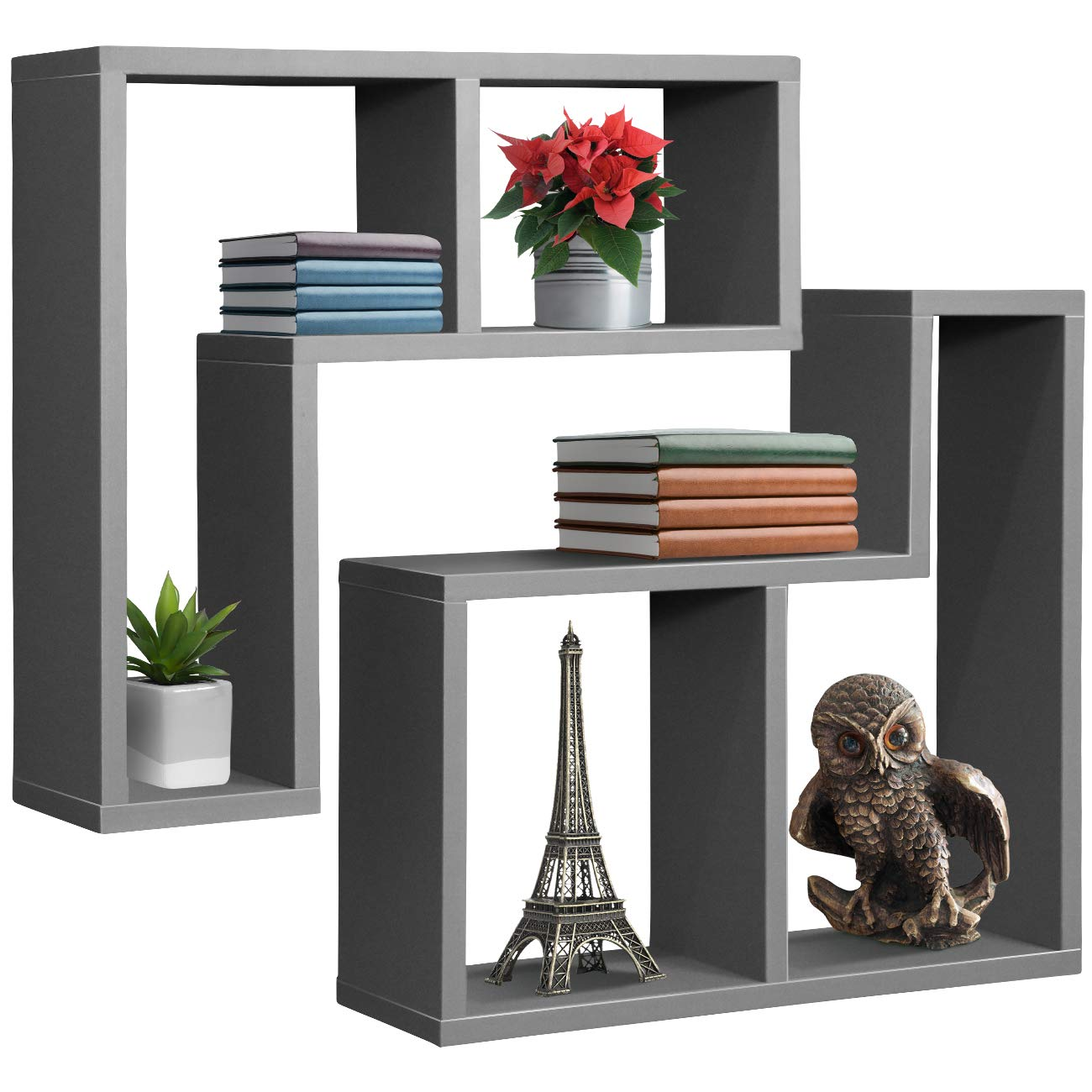 Sorbus Floating Shelf L-shaped Set — L-ledge Wall Shelves With 2 Openings,  Decorative Hanging Display For Photo Frames, Collectibles, And Home Dã©cor