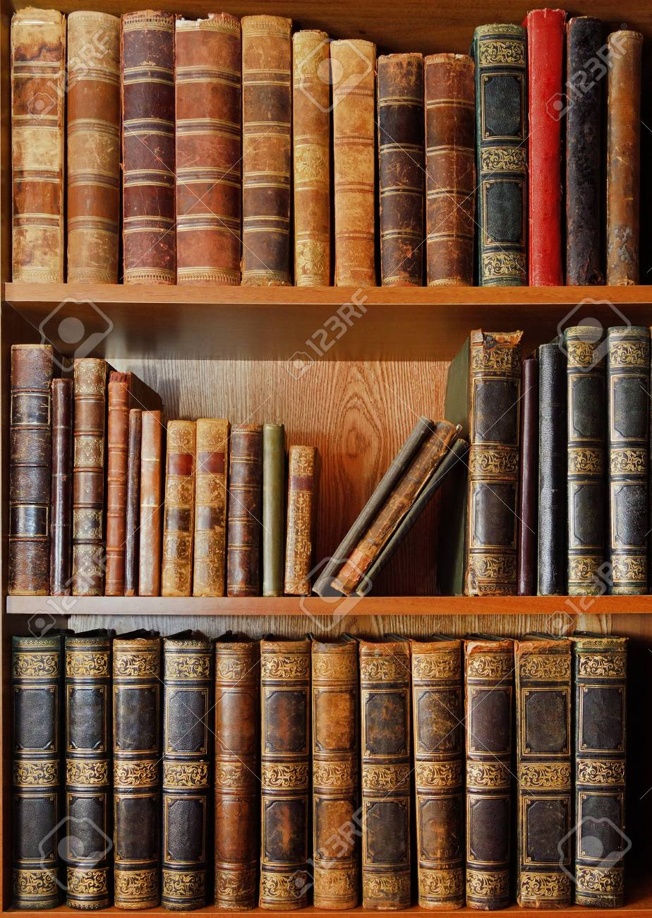 Shelves With Antique Books In Old Library