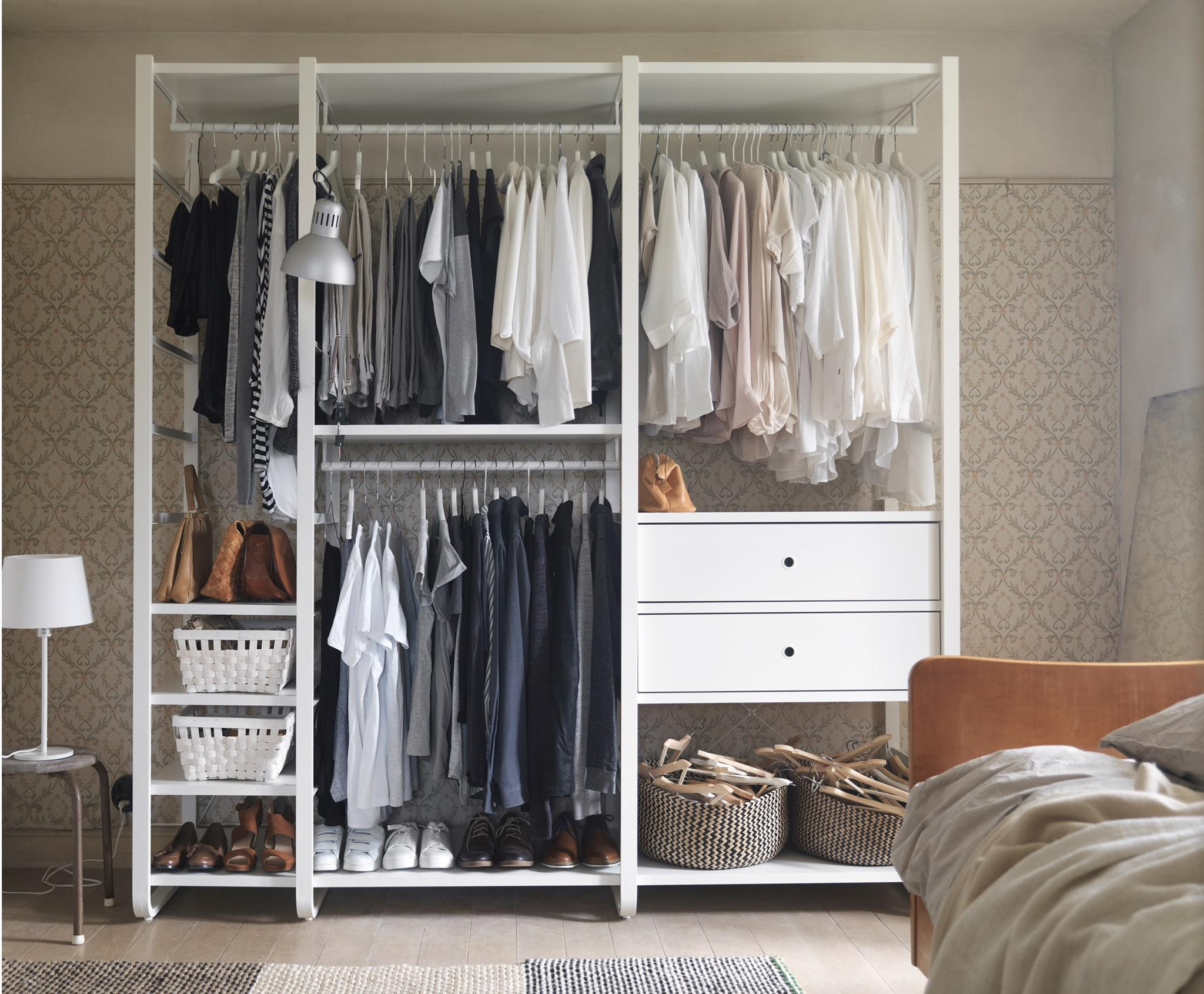 A White Open Storage With Clothes Rails, Shelves And Drawers : Ikea