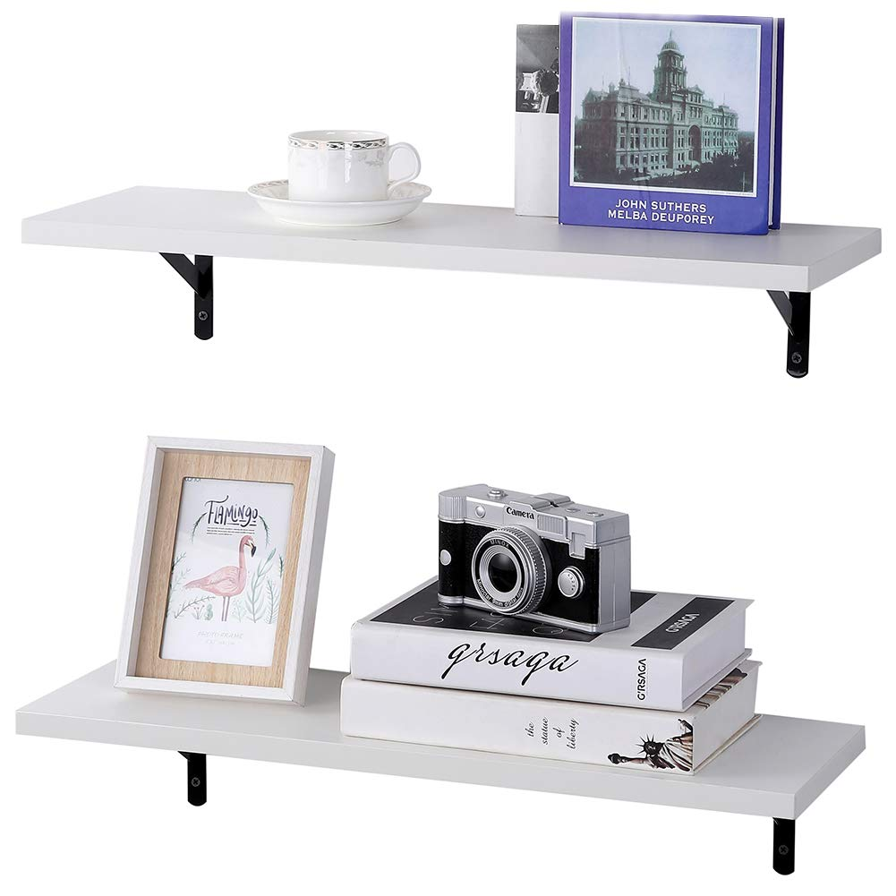 Superjare Wall Mounted Floating Shelves, Set Of 2, Display Ledge, Storage  Rack For Room/kitchen/office - White