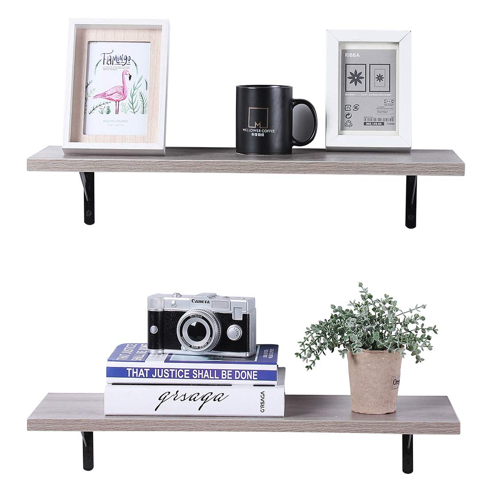 Superjare Wall Mounted Floating Shelves, Set Of 2, Display Ledge, Storage  Rack For Room/kitchen/office - Cream Gray