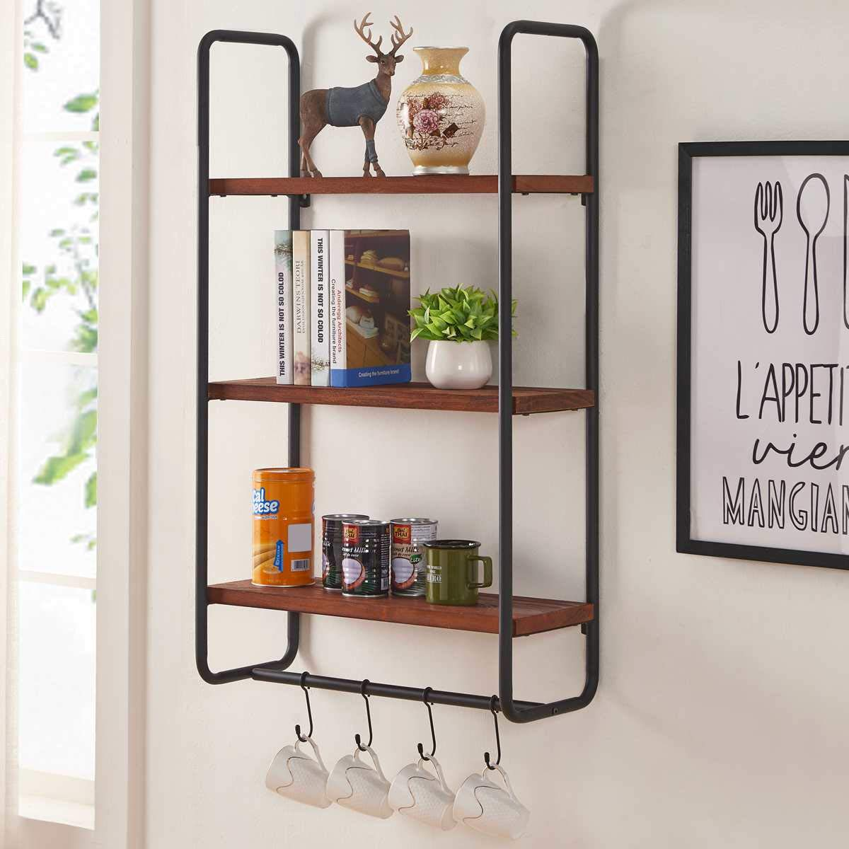 Bon Augure Solid Wood Wall Shelves With Hooks, 3-tier Shelf Wall Mounted  For Kitchen Bathroom Bedroom And Office, Rustic Entryway Hanging Shelf Unit