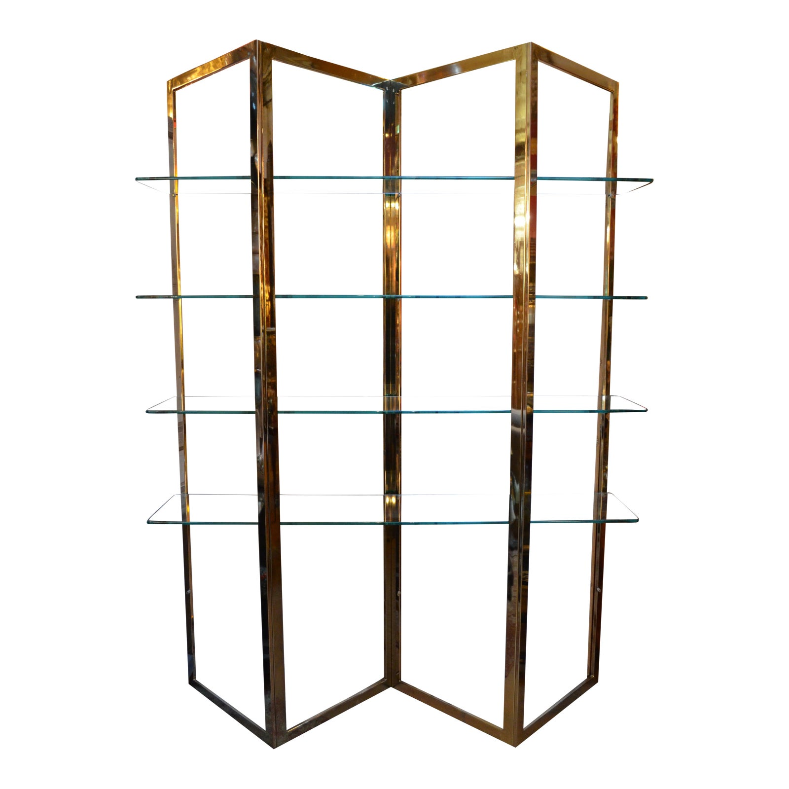 Vintage Mid-century Modern Vintage Brass Etagere With Five Glass Shelves