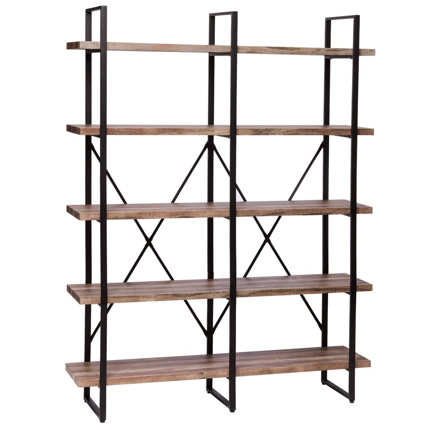 Ironck Bookshelf, Double Wide 5-tier Open Bookcase Vintage Industrial Large  Shelves, Wood And Metal Etagere Bookshelves, For Home Decor Display,