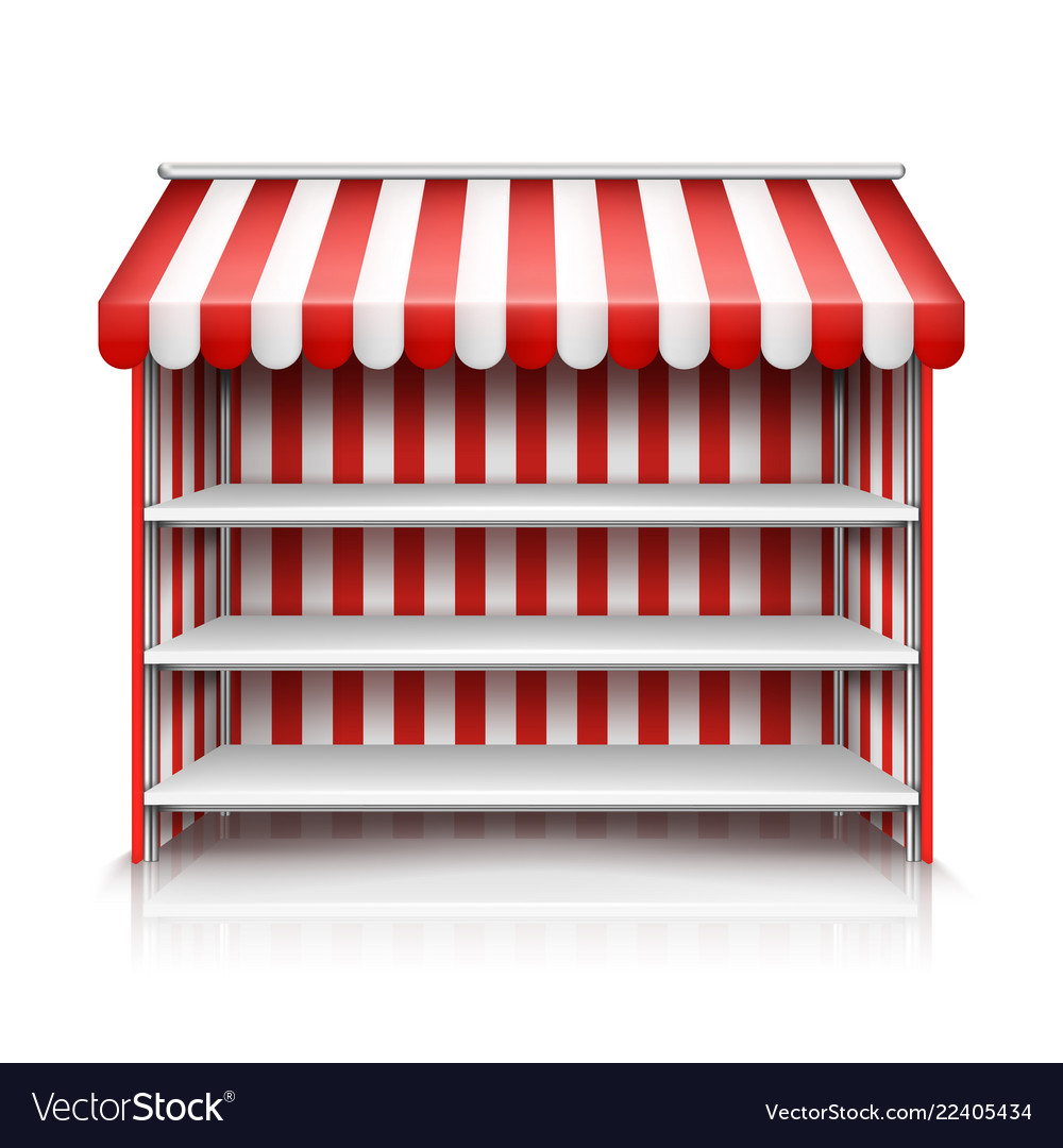 Empty Market Stall With Shelves And Awning