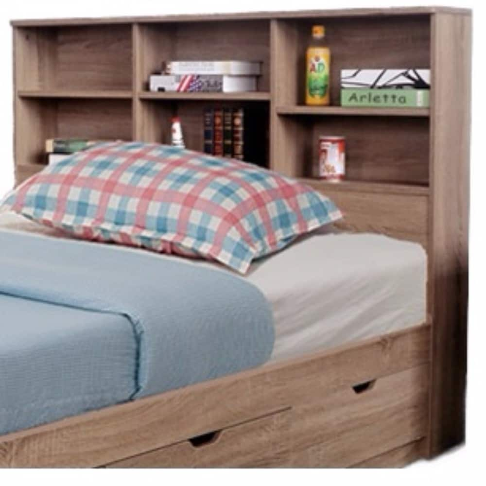 Contemporary Style Twin Size Bookcase Headboard With 6 Shelves