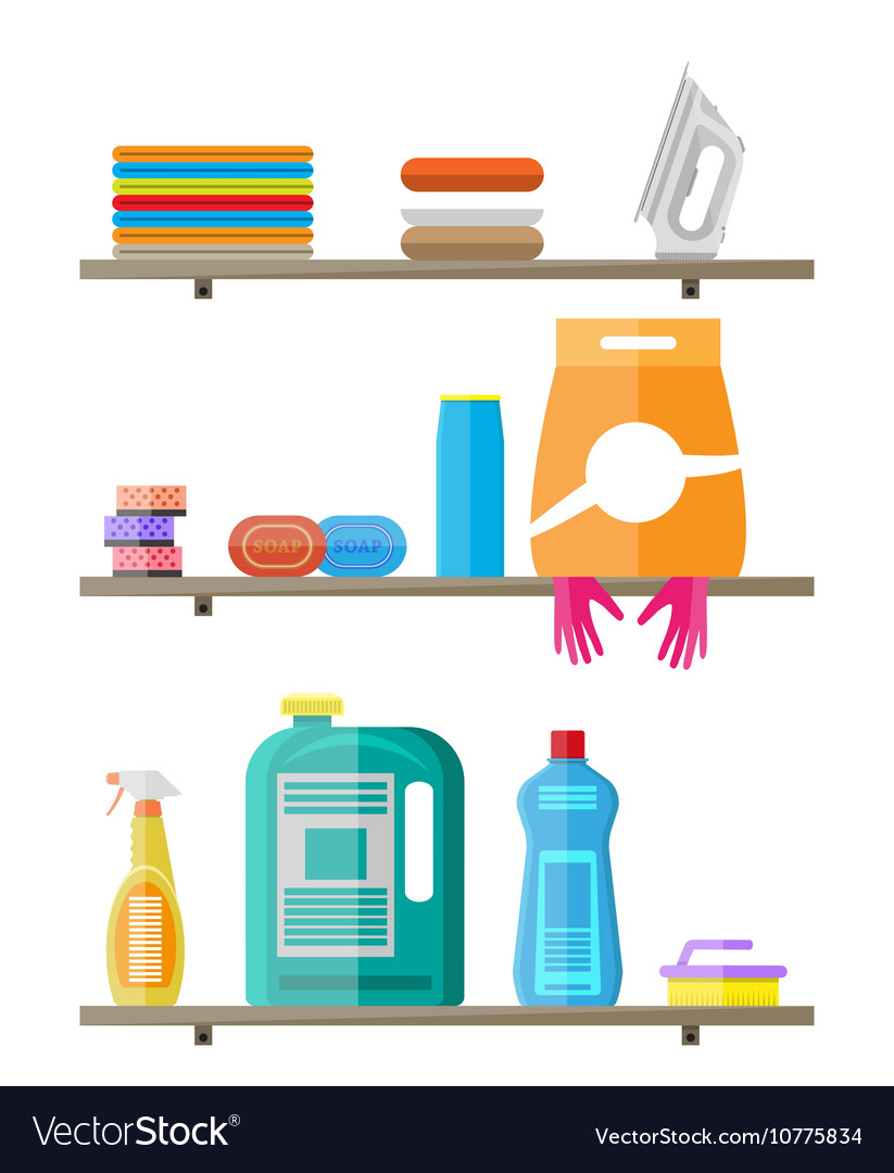 Household Products On Plastic Shelves