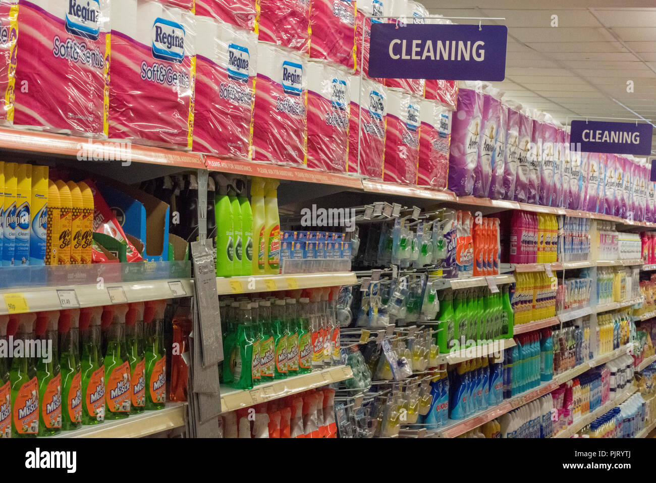 Cleaning Products Shelves Stock Photos & Cleaning Products