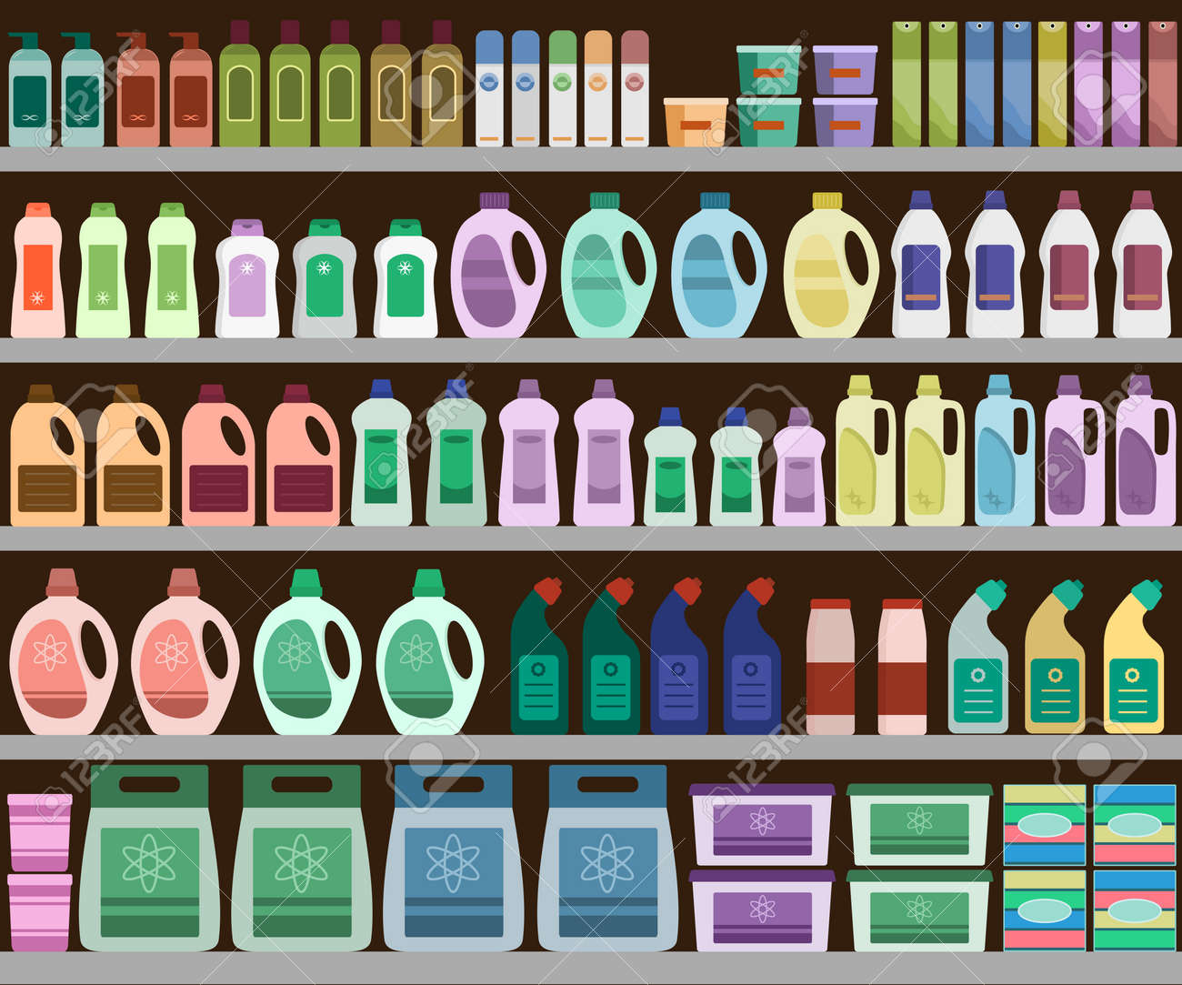 Household Supplies Aisle In The Supermarket, Shelves Filled With