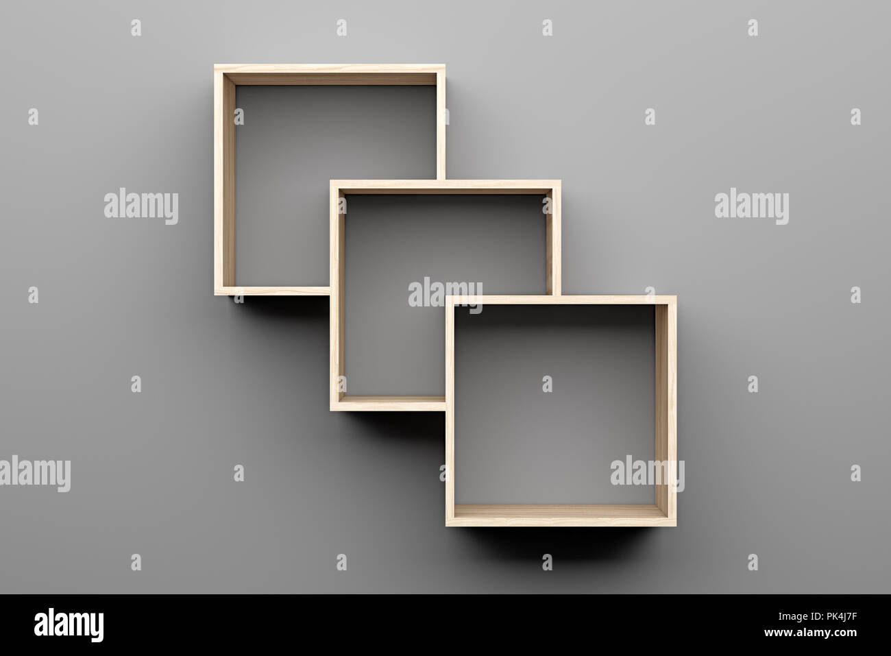 Empty Wooden Shelves On Gray Wall With Light From The Top