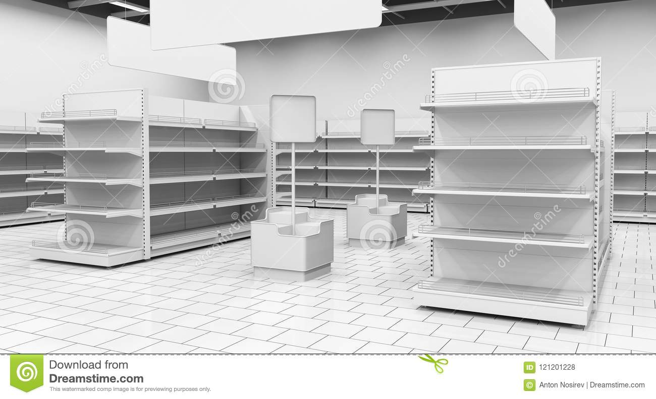 Interior Of A Supermarket With Shelves For Goods 3d
