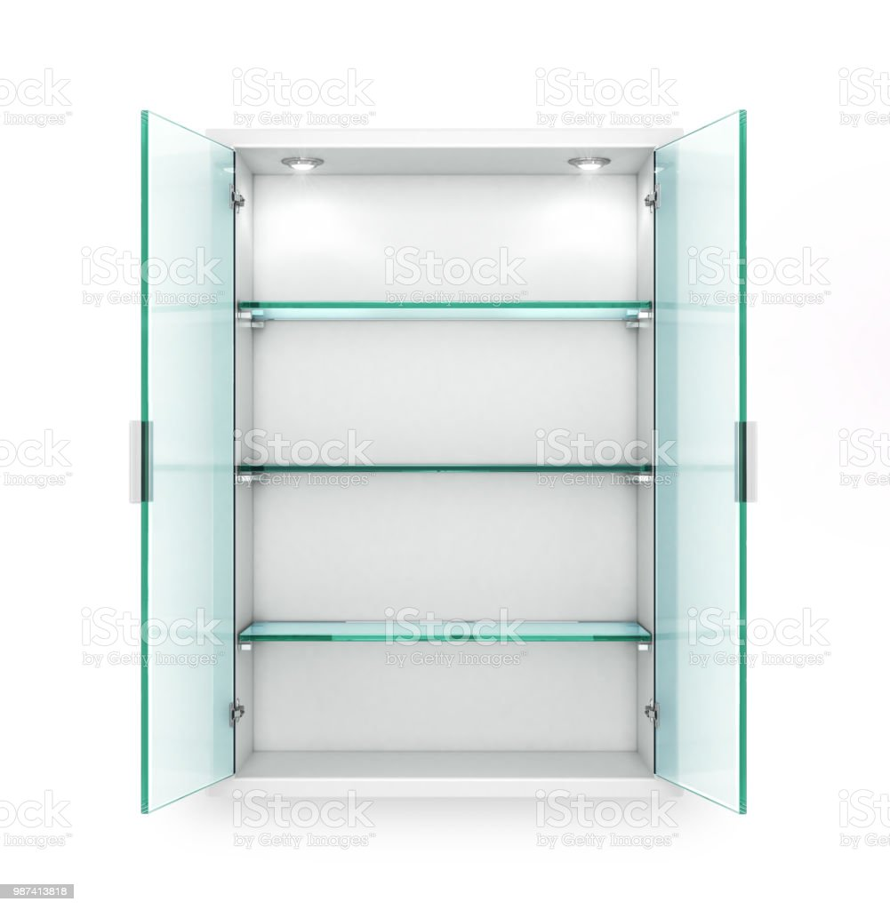 Open Cupboard With Empty Glass Shelves 3d Illustration Stock