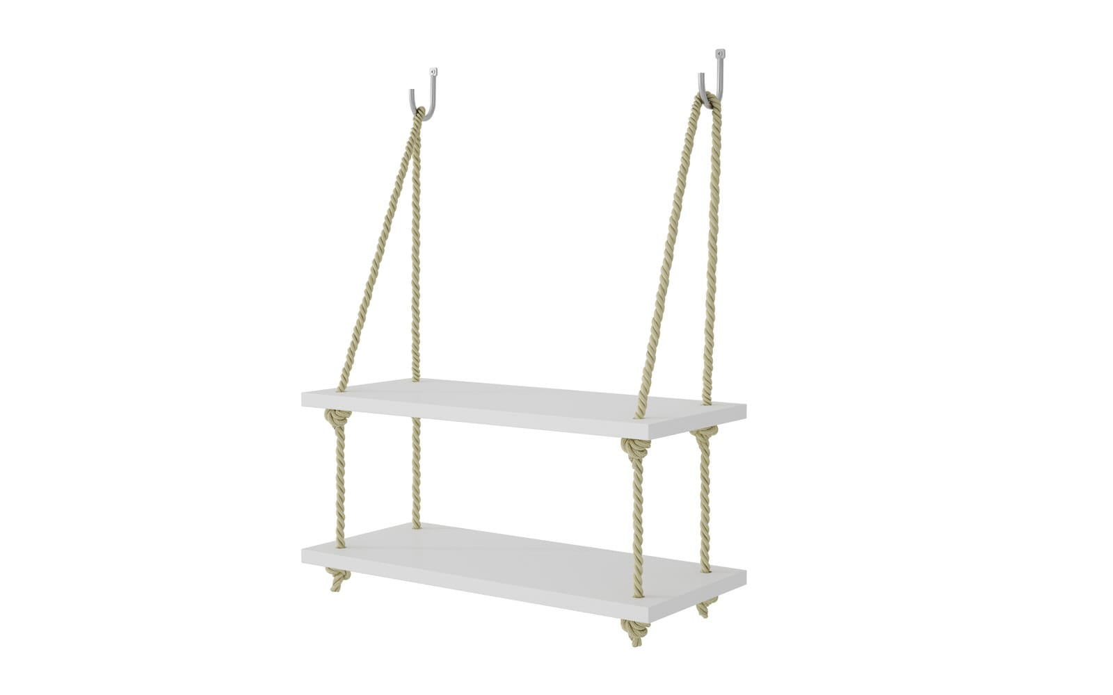 Uptown White 20 - 1752 Inch Rope Swing W/ 2 Shelves By Manhattan Comfort